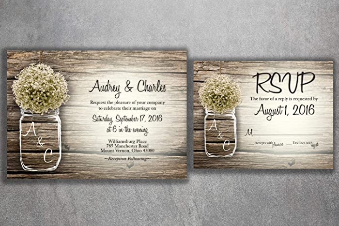 Country Mason Jar Baby S Breath Flowers Rustic Wedding Invitation Set Printed Cheap Wedding Invitations Unique Custom Invitations Affordable