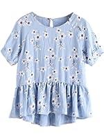MakeMeChic Women's Ruffle Hem Floral Blouse Short Sleeve Babydoll Top