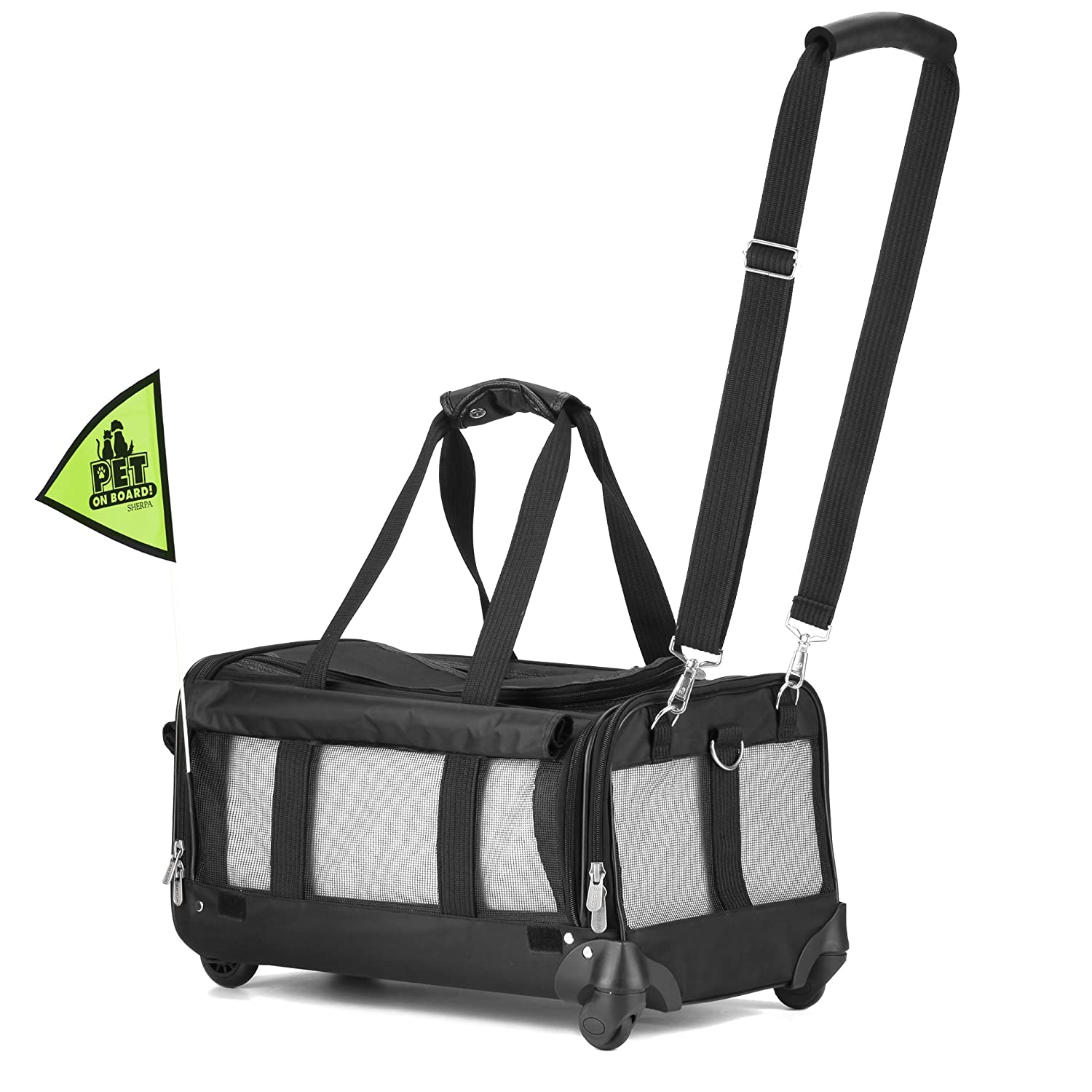 Sherpa on Wheels Pet Carrier, Black World Wise Pooch Planet Q98792