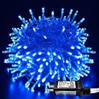 JMEXSUSS Blue String Lights 66ft 200 LED Indoor Outdoor, Plug in Fairy String Lights Clear Wire, 8 Modes Waterproof…