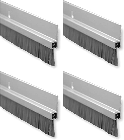 "Amazon.com: Pemko Brush Door Bottom Sweep, Clear Anodized Aluminum with 0.625"" Gray Nylon Brush Insert, 0.25"" Width, 1.375"" H x 48"" L - 18061CNB48 (Fоur Расk): Arts, Crafts & Sewing"