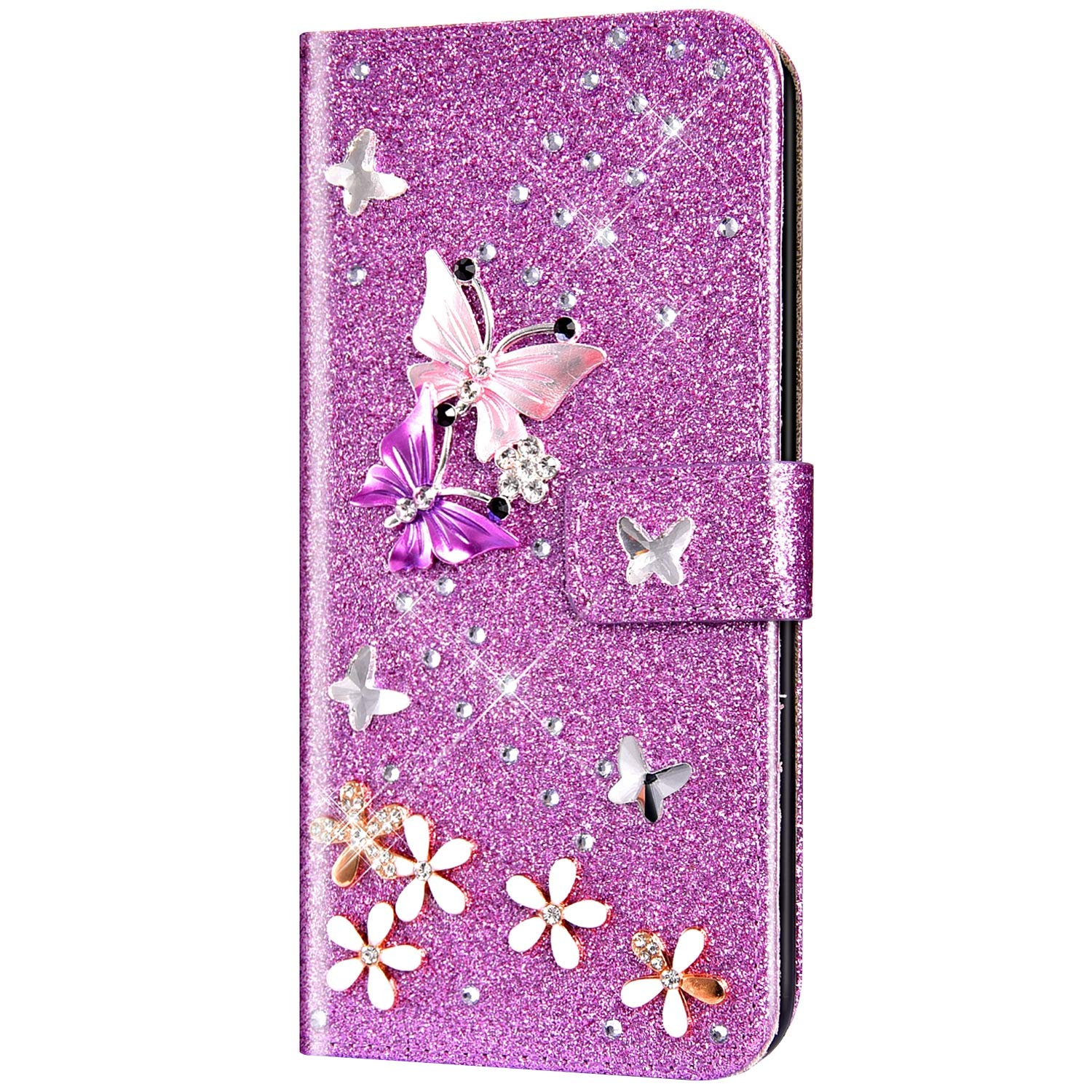 Case for Huawei P30 Flip Case Premium PU Leather Wallet Case 3D Handmade Glitter Bling Shiny Diamond Butterfly with Card Slots Kickstand for Huawei P30,Purple by ikasus