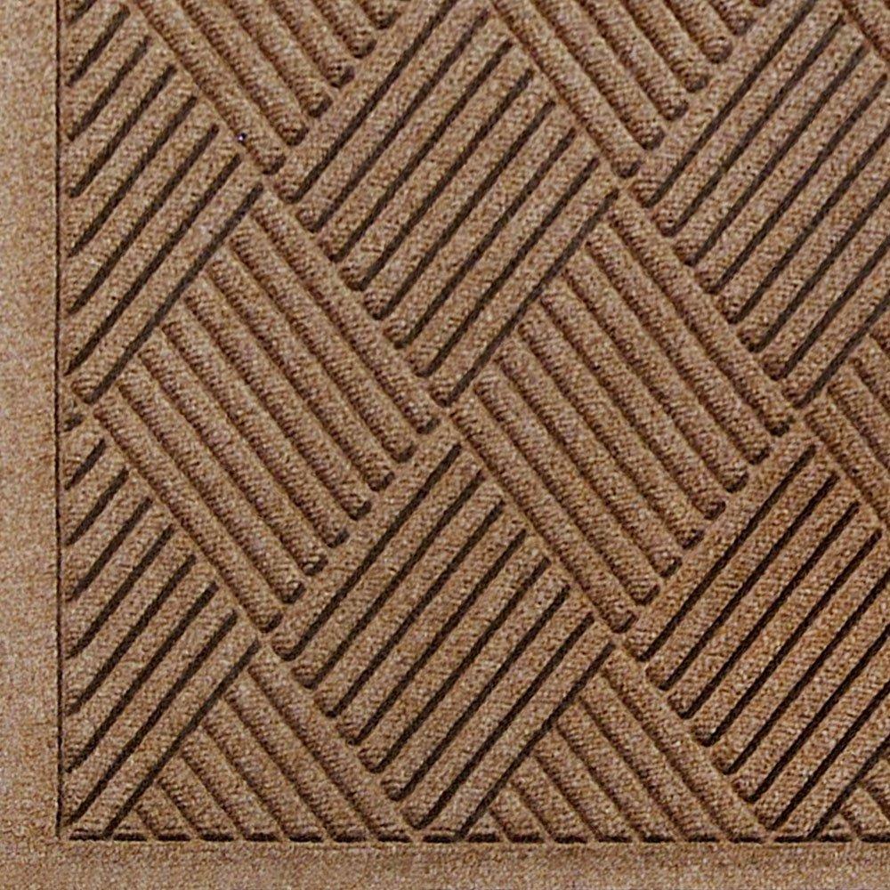 M+A Matting 221 Waterhog Fashion Diamond Polypropylene Fiber Entrance Indoor/Outdoor Floor Mat, SBR Rubber Backing, 3' Length x 2' Width, 3/8'' Thick, Medium Brown