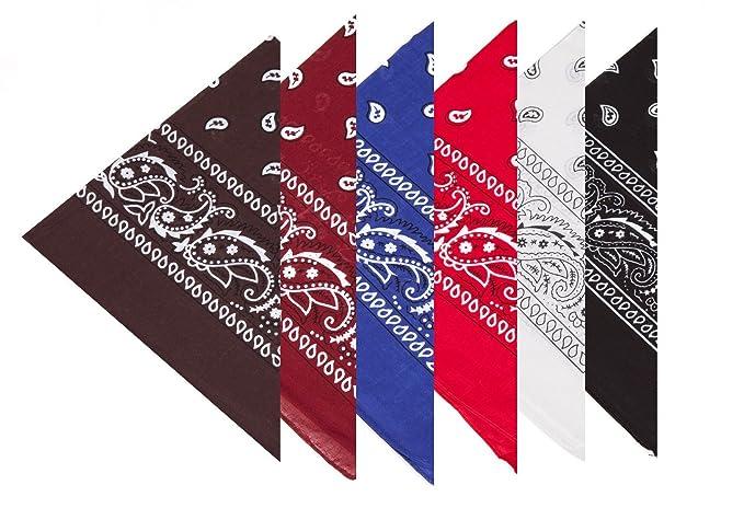 Boolavard 100% cotone 1pcs, 6pcs o 12pcs Pack Bandane con Paisley Pattern colore originale di scelta Headwearcapelli