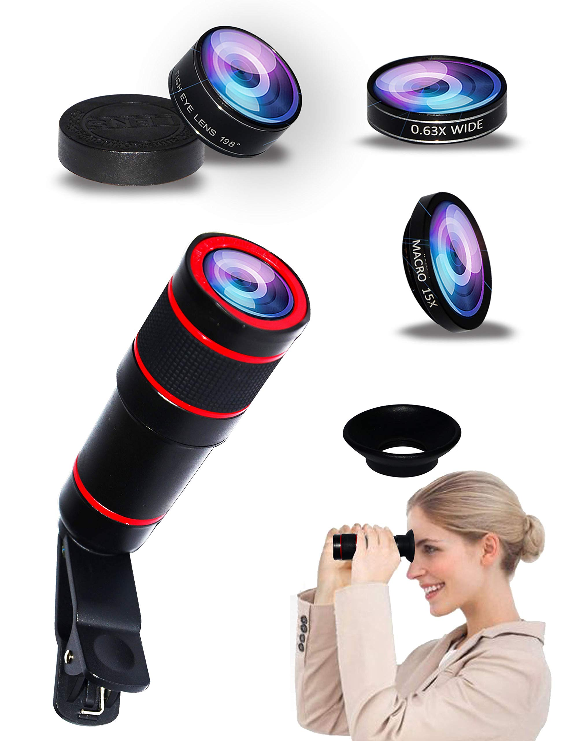 5-in-1 Phone Lens, 14x telephoto Lens, 0.63x Wide-Angle Lens, Macro Lens, fisheye Lens, Eye mask, Telescope Camera Mobile Zoom lens compatible iPhone Samsung Galaxy Huawei and Most Android Smartphones