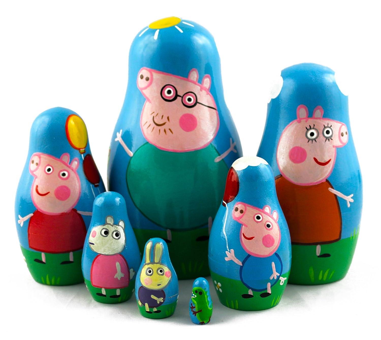 Amazon.com: Peppa Pig Family Matryoshka Wooden Russian Nesting Dolls ...