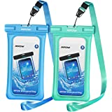 "Mpow Floating Waterproof Case, IPX8 Universal Waterproof Phone Pouch Underwater Dry Bag for iPhone X/8/8plus/7/7plus/6s/6/6s plus Samsung galaxy s9/s8 Google Pixel HTC up to 6.0"" (Blue, Green)"