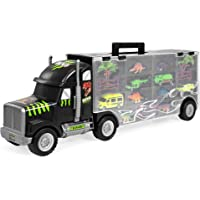 BCP 16-Piece 22in Semi-Truck Carrier Toy With 3 Cars, 6 Dinosaur
