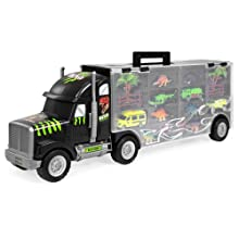 Best Choice Products 22in 16-Piece Kids Giant Transport Carrier Truck w/ Dinosaurs, Helicopter, Jeep, Cars - Multicolor