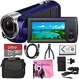 Sony HDR-CX240 Full HD Handycam Camcorder (Blue) (32GB Mini Tripod Bundle)