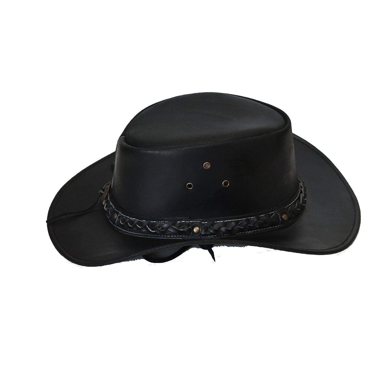 Sombrero australiano de Bush sombrero de vaquero estilo occidental outback cuero disponible en Negro y Brown