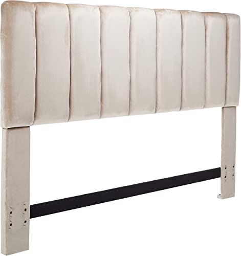 Iconic Home Uriella Headboard Velvet Upholstered Vertical Striped Modern Transitional