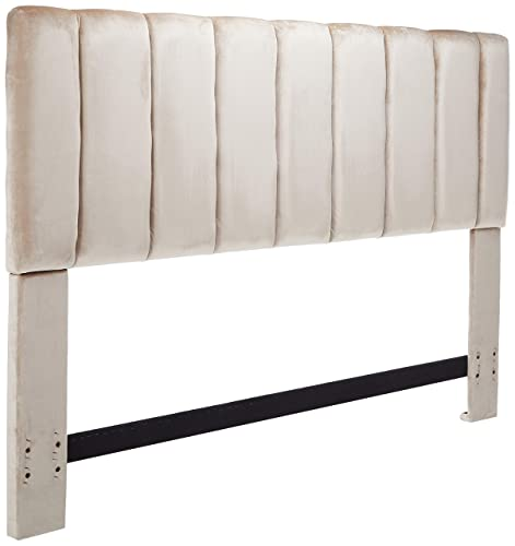 Iconic Home Uriella Headboard Velvet Upholstered Vertical Striped Modern Transitional, King, Taupe