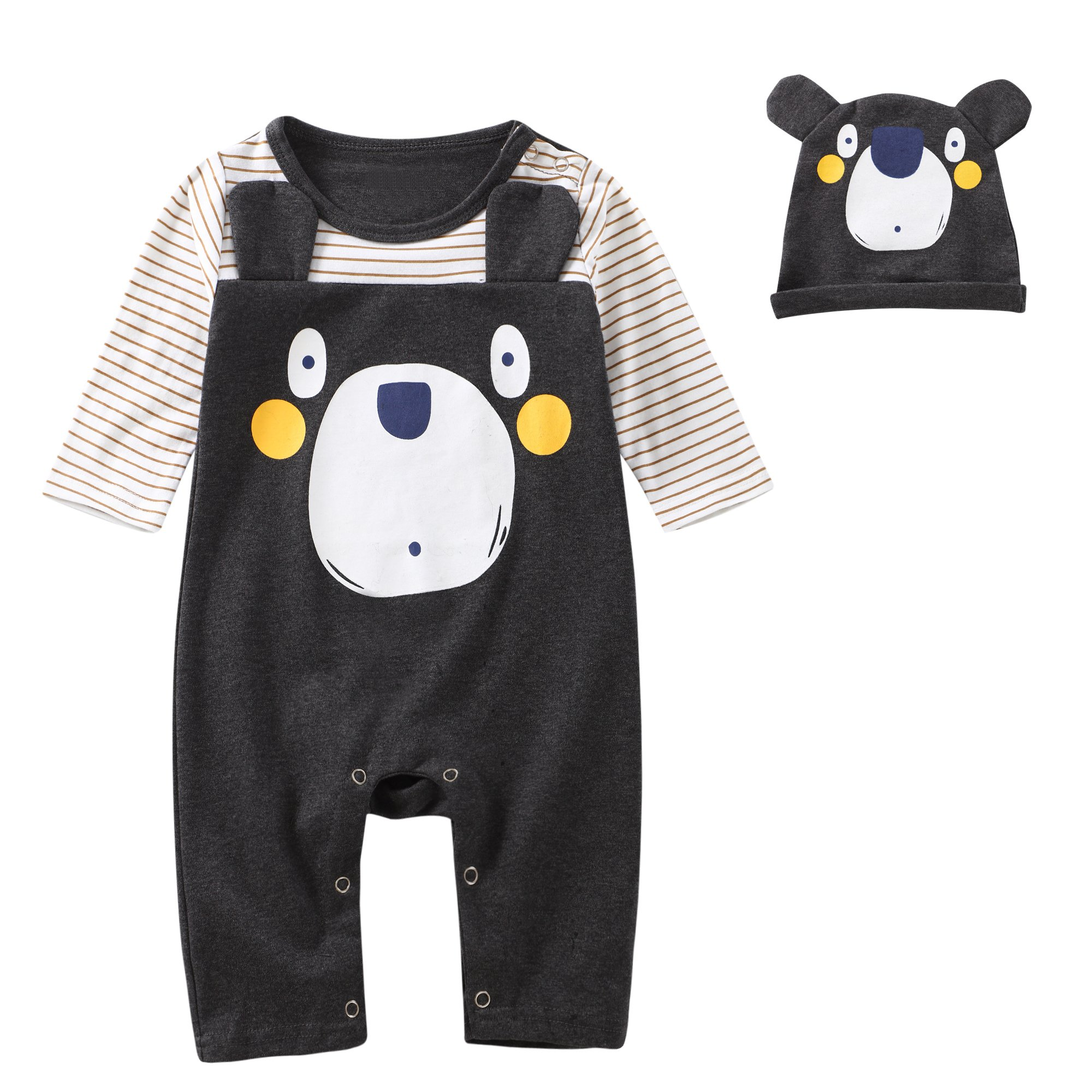 Baby Boys Girls 2PCS Bear Printed Long Sleeve Jumpsuit Romper Outfit With Hat (18-24, Grey)