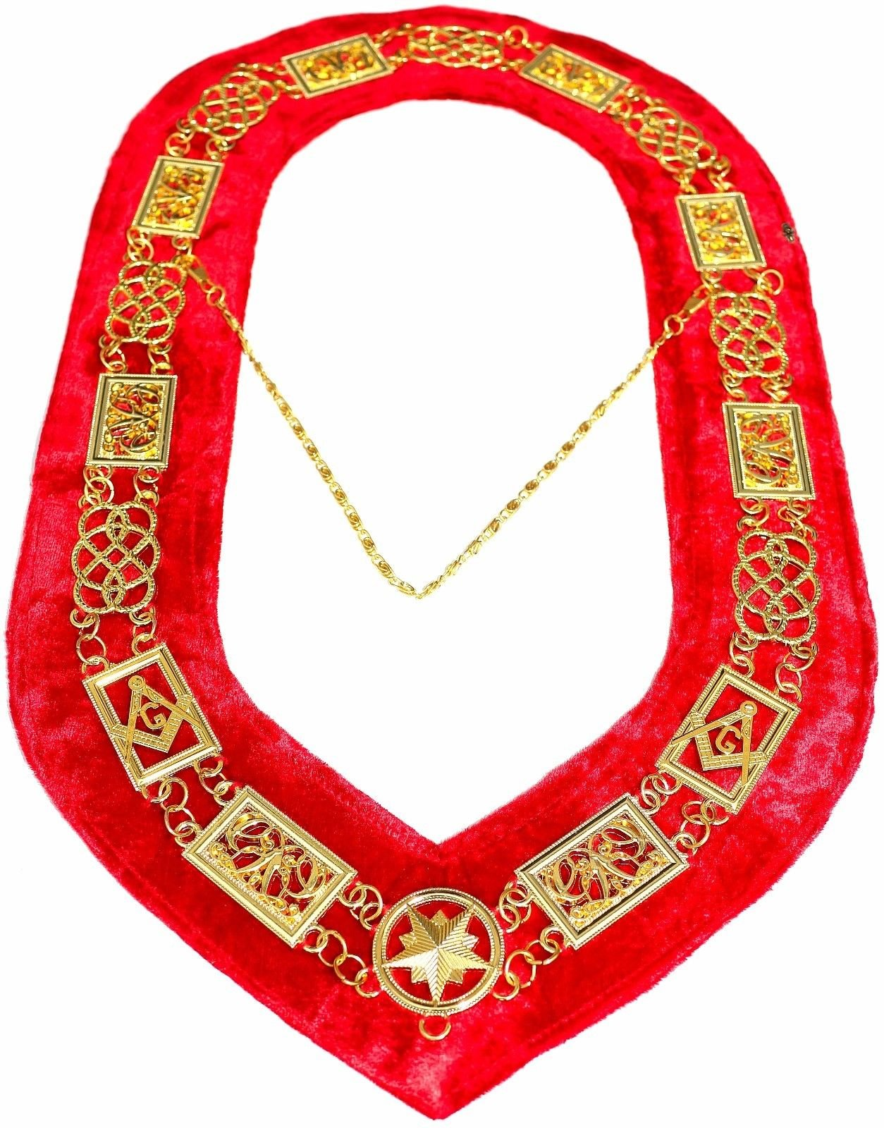 DEURA Masonic Collar FREEMASON Grand Lodge Master Mason GOLD PLATED//RED VELVET BACKING DMR-100GR
