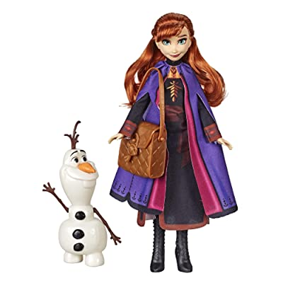 Disney Frozen Anna Doll with Buildable Olaf Figure & Backpack Accessory, Inspired by 2 Movie, Brown: Toys & Games