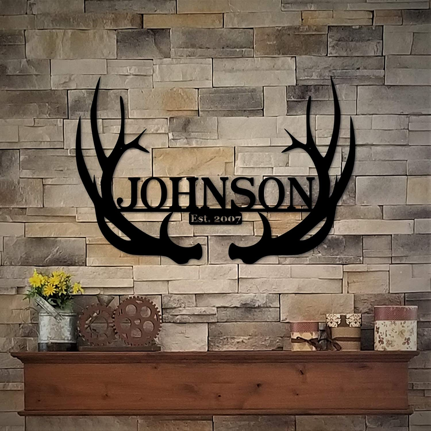 "Diuangfoong Metal Antler Name Sign - 30"" Custom Deer Antlers Family Name - Personalized Metal Deer Antlers - Antler Monogram Ranch Decor"
