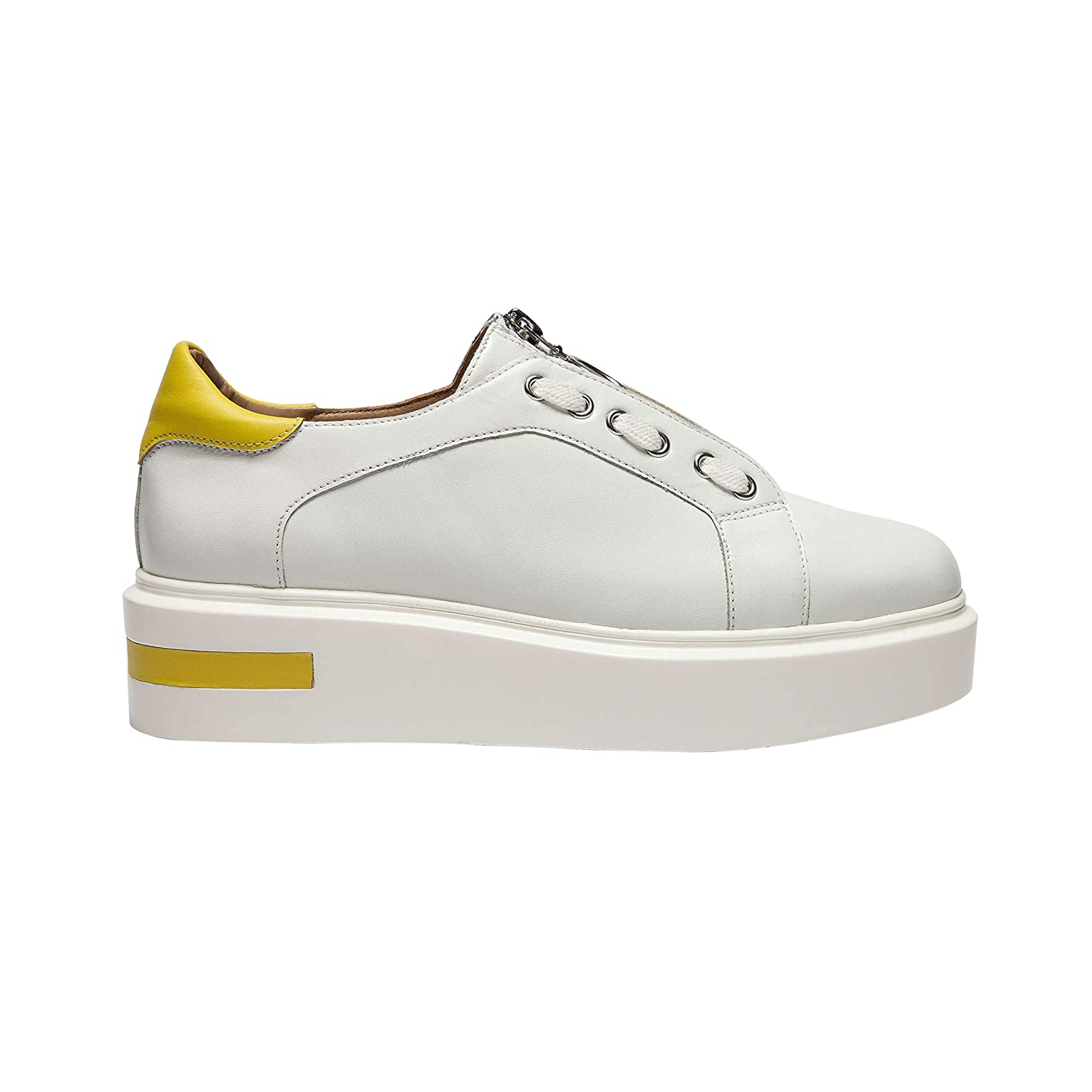 Sport Inspired Zip Up Leather Platform Sneaker with Faux Lace Detail New Fall Killian
