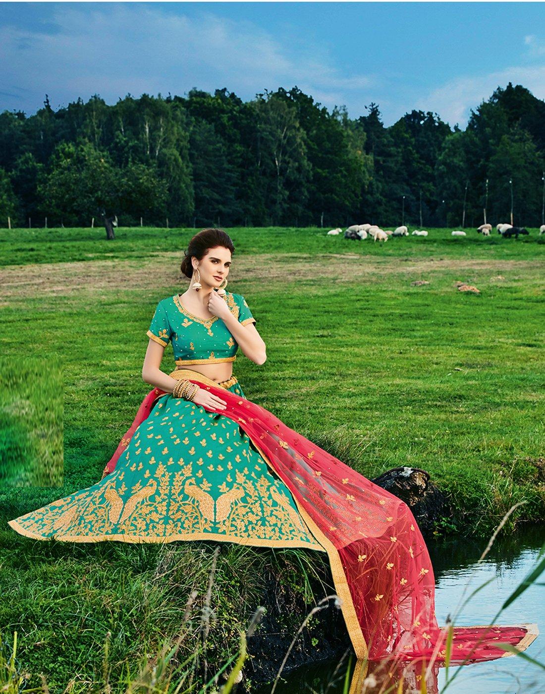 DesiButik's Wedding Wear Ravishing Rama Banarasi Silk Lehenga by DesiButik (Image #3)
