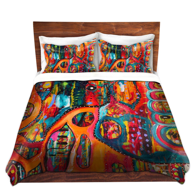 DiaNoche Designs Michelle Fauss Unique Home Decor Bedding Ideas Abstract Elephant Cover, 7 Queen Duvet Sham Set
