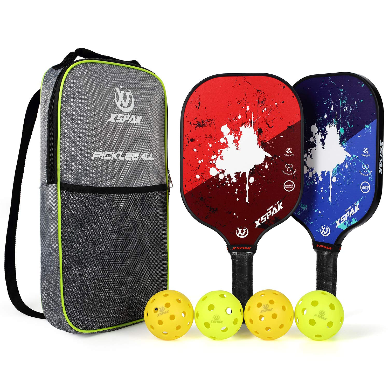 XS XSPAK Pickleball Paddle Set of 2 USAPA Approved 2 Indoor Balls and 2 Outdoor Balls Graphite Honeycomb Composite Core Paddle Sets Including Bag