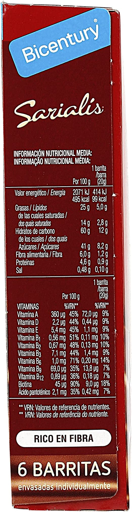 BICENTURY Sarialis barritas de cereales chocolate con leche ...