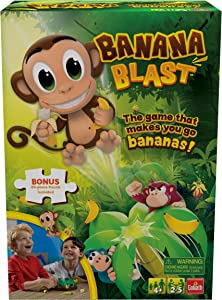 Banana Blast - Pull The Bananas Until The Monkey Jumps Game - Includes a Fun Colorful 24pc Puzzle by Goliath