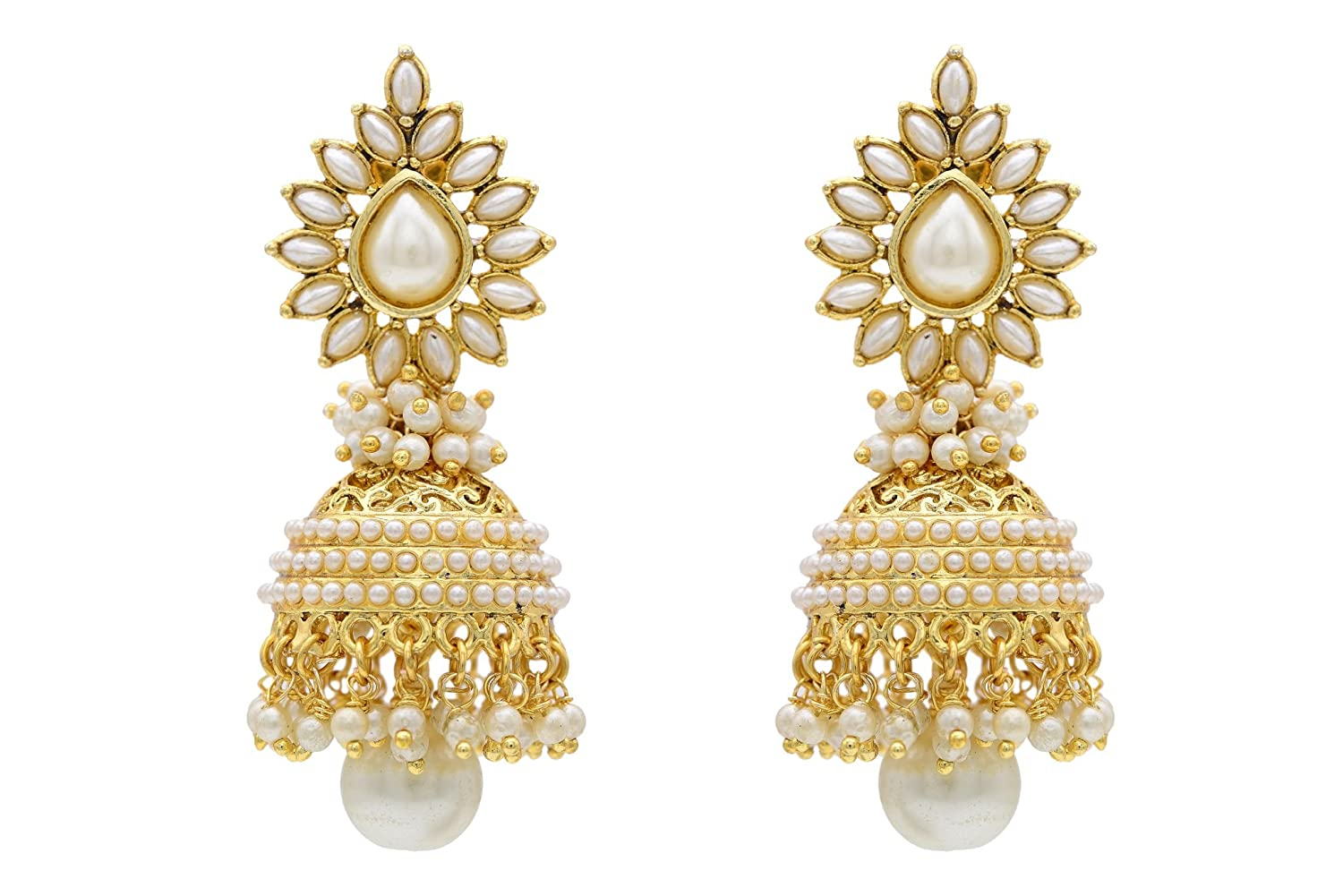 Buy HYDERABAD JEWELS ANTIQUE GOLDEN JHUMKA Online at Low Prices in ...