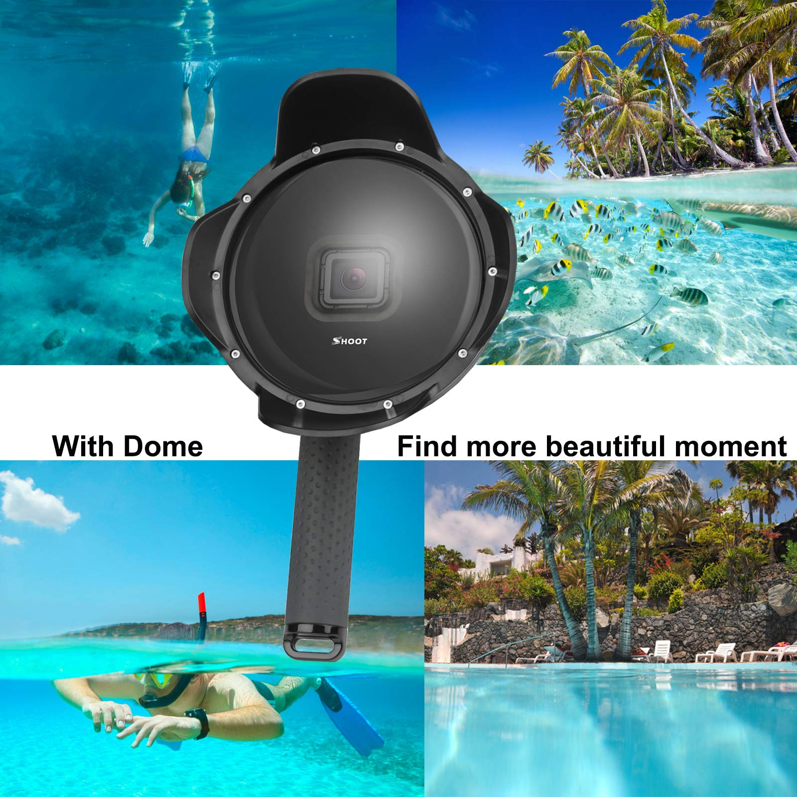 Gurmoir Shoot 6'' Dome Lens Hood Dome Port for Gopro Hero 7 Black/Hero 6/Hero 5/Hero (2018) Action Cameras Snorkeling Underwater Diving Dome with Waterproof Housing Case with Soft Rubber Floating Grip by Gurmoir (Image #5)
