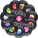 Funny Coasters for Drinks | Set of 12 Vinyl Records Disk Music Lover Drink Coaster Conversation | Housewarming Hostess…