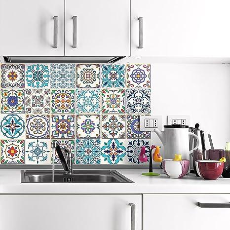 Ambiance-Live Piastrelle adesive per parete, tipo azulejos, 20 x 20 ...