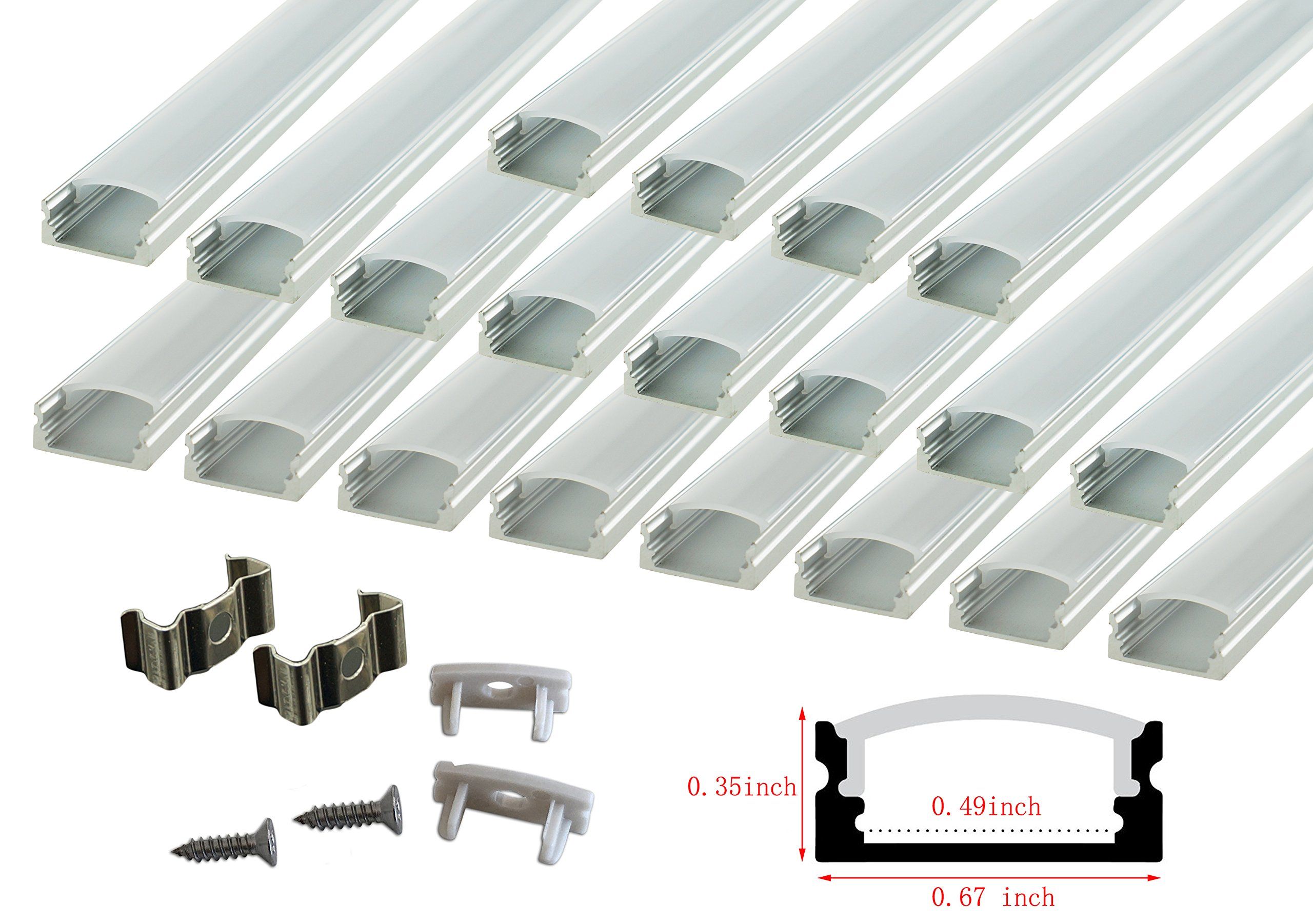 Muzata 20-Pack 3.3ft/1Meter U Shape LED Aluminum Channel System With Cover, End Caps and Mounting Clips, Aluminum Profile for LED Strip Light