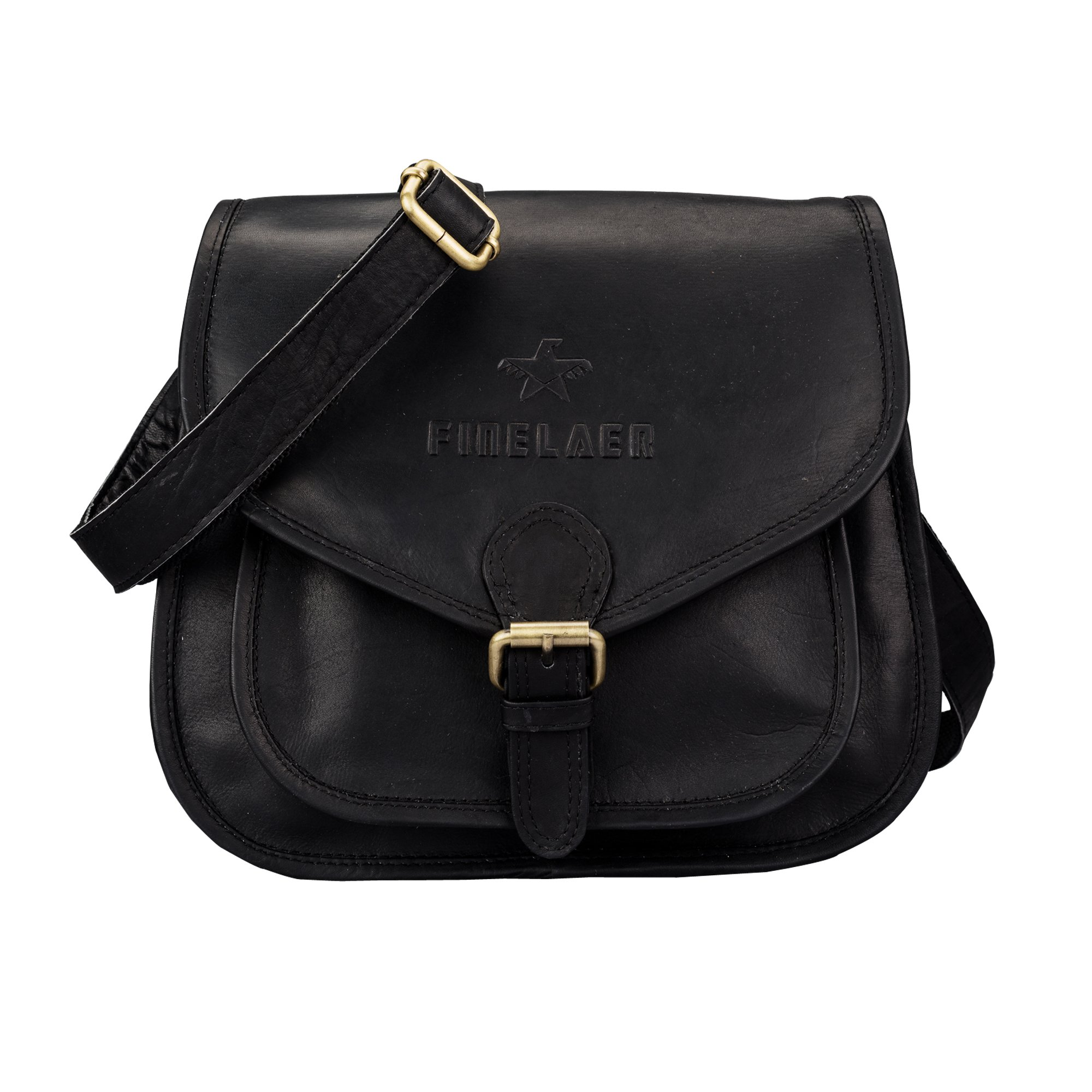 Women Vintage Leather Saddle Crossbody Bag Black | Finelaer