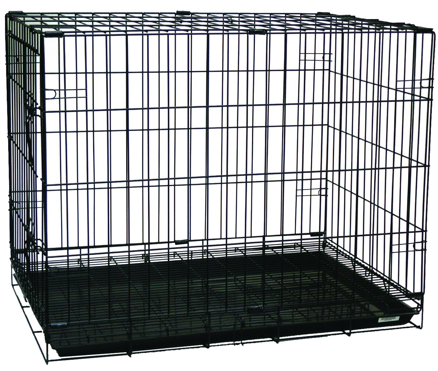YML Double Door Dog Kennel Cage with Plastic Tray No Bottom Wire, 48-Inch, Black by YML (Image #1)