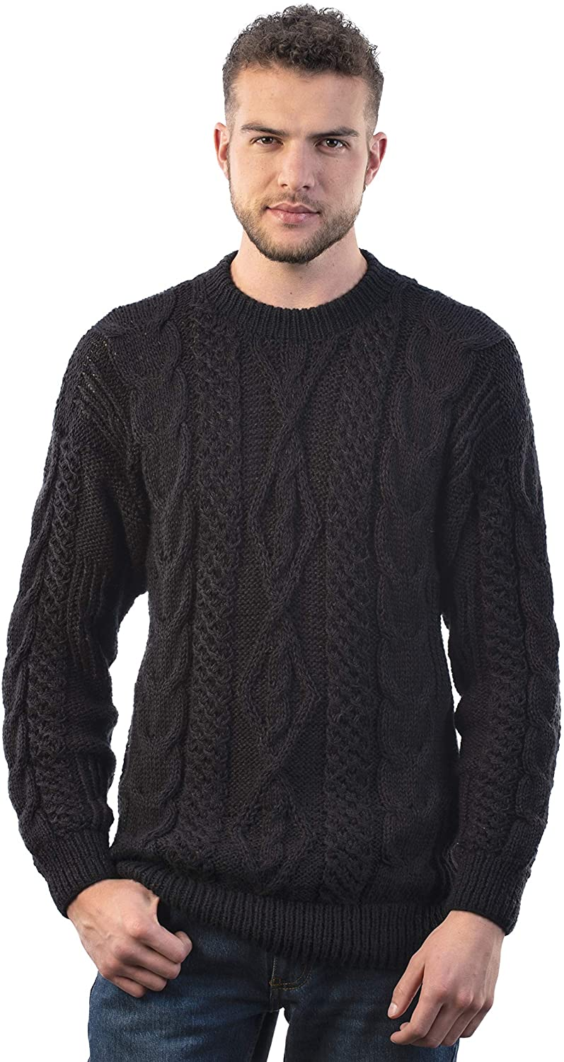 "Intialpaca Men's Crewneck Black Hand Woven Irish Alpaca Sweater ""Taranis"""