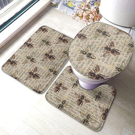Amazon Com Dpqz Non Slip Bathroom Rugs Sets 3 Piece Brown Queen Bee Gold Honeycomb Shower Bath Mats U Shape Contour Rug Toilet Mat Lid Cover Home Kitchen