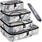 BAGAIL 4 Set Packing Cubes,Travel Luggage Packing Organizers with Laundry Bag (Geomtry Grey)