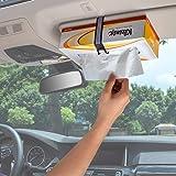 TFY ティッシュボックスホルダー 車のサンバイザー、ヘッドレストに簡単取り付け ティッシュボックスストラップ クリネックス エリエールなど(白)
