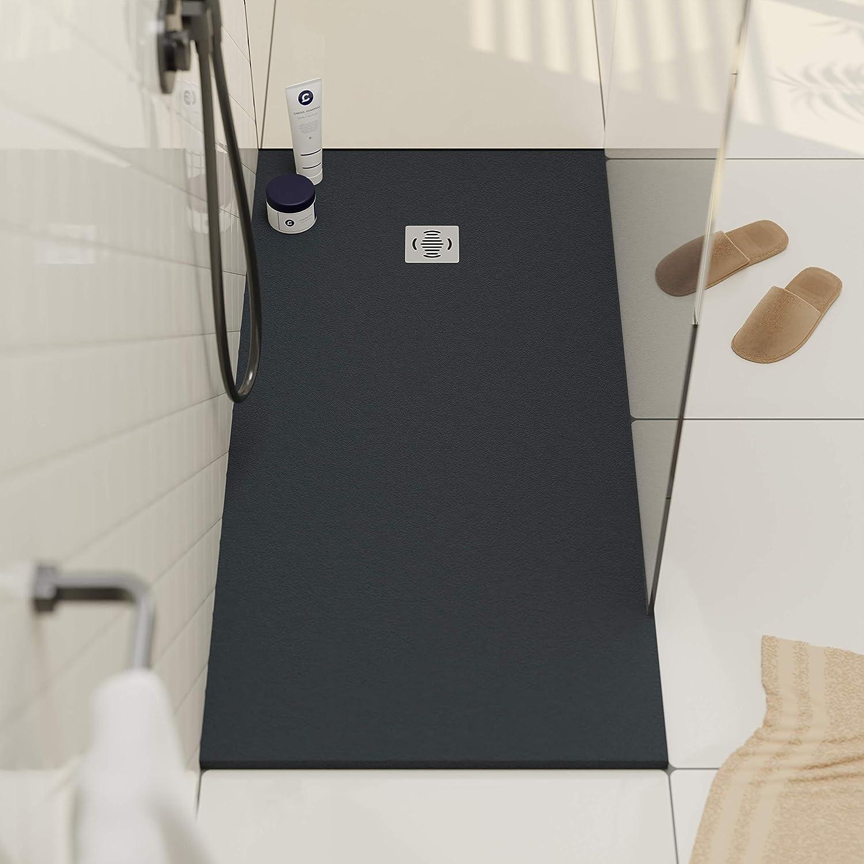 Receveur de douche 17 x 17 modèle Ebro - Texture Ardoise et antidérapante  - Finition mat - Toutes les tailles sont disponibles - Fourni avec grille