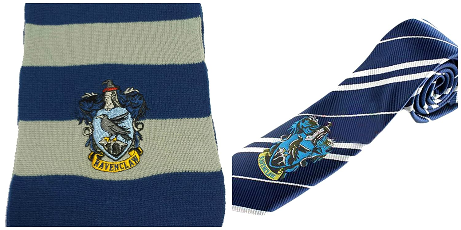 Harry Potter House Crest Gift Set Comes with (1) Tie and (1) Scarf InspireMe Family Owned (Ravenclaw - Blue/Gray)