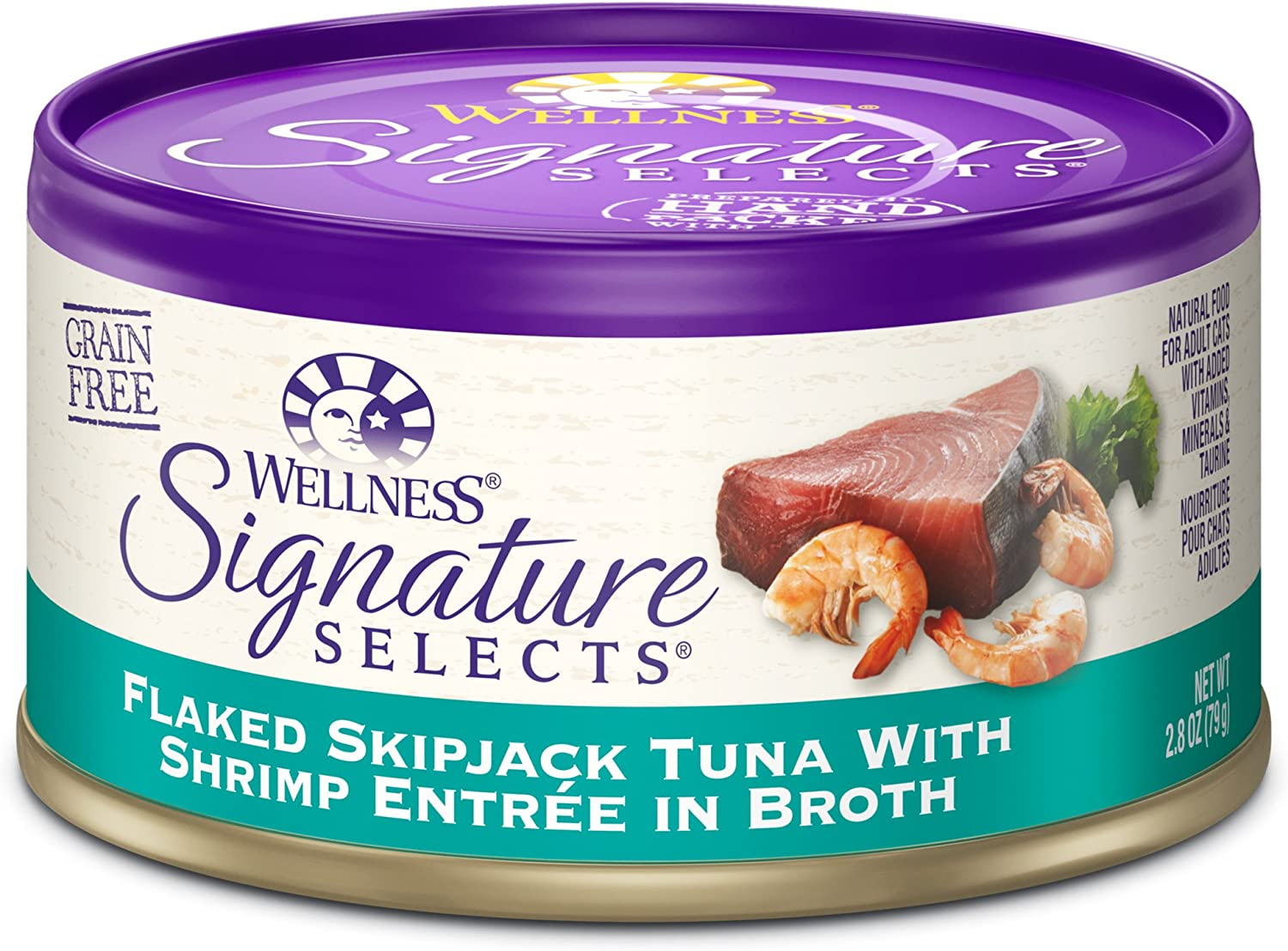 Wellness Core Signature Selects Natural Canned Grain Free Wet Cat Food Flaked Skipjack Tuna & Shrimp