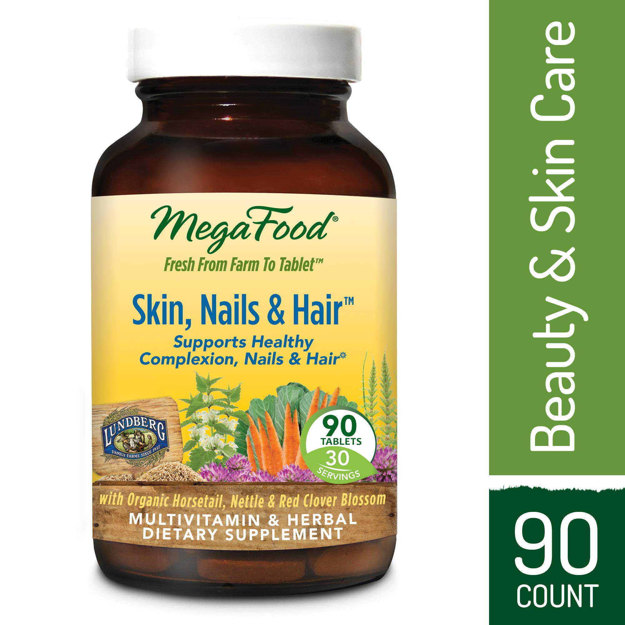 MegaFood - Skin, Nails, & Hair, Multivitamin Support for Hormone Balance to Encourage a Healthy Complexion, Strong Nails, and Beautiful Hair with Biotin, Vegan, Gluten-Free, Non-GMO, 90 Tablets (FFP)