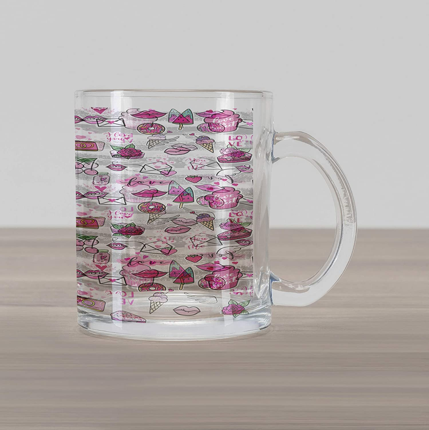 7ae8b5f8e40 Ambesonne Emoji Glass Mug, Memphis Style Doodle Lip Star Strawberry Speech  Bubble on Stripe Pattern, Printed Clear Glass Coffee Mug Cup for Beverages  Water ...