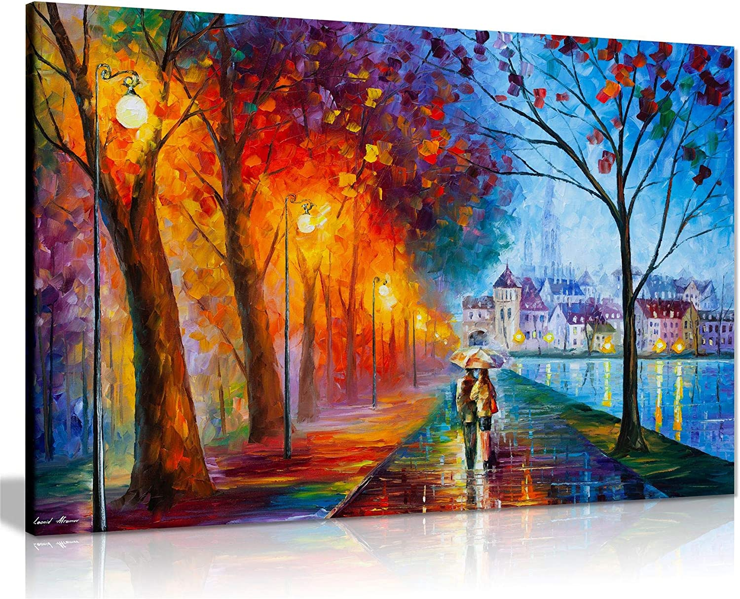 Amazon Com City By The Lake By Leonid Afremov Canvas Wall Art Picture Print For Home Decor 24x16 Posters Prints