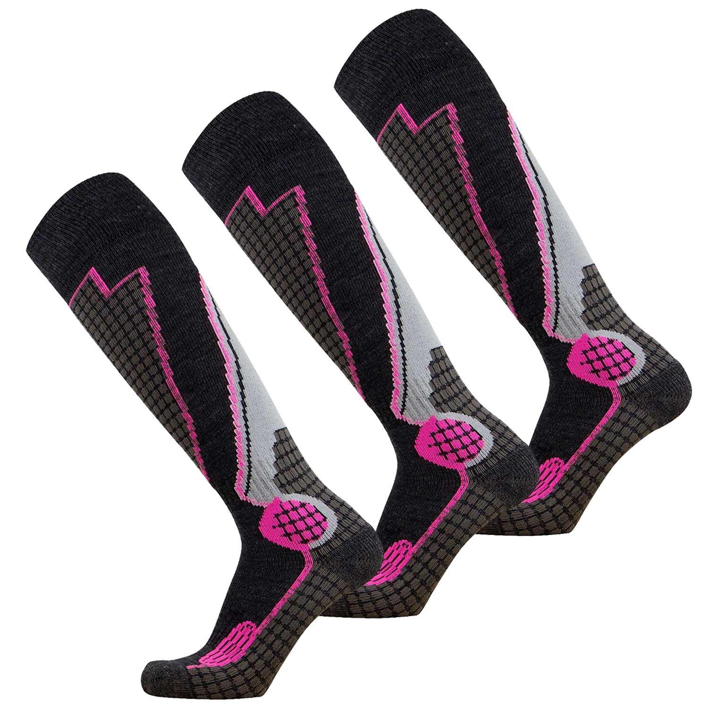 Pure Athlete High Performance Wool Ski Socks - Outdoor Wool Skiing Socks, Snowboard Socks (Black/Grey/Neon Pink - 3 Pack, Small) by Pure Athlete