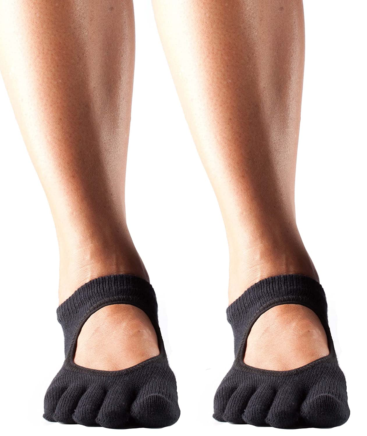 ToeSox Womens Full Toe Bella Grip Non-Slip Yoga Socks 2 Pack