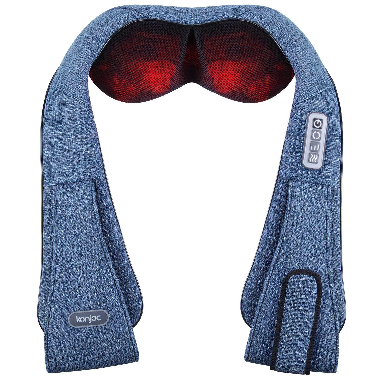 Masajeador de cuello, Konjac Masajeador para espalda y hombros Masaje Shiatsu cervical con calor,