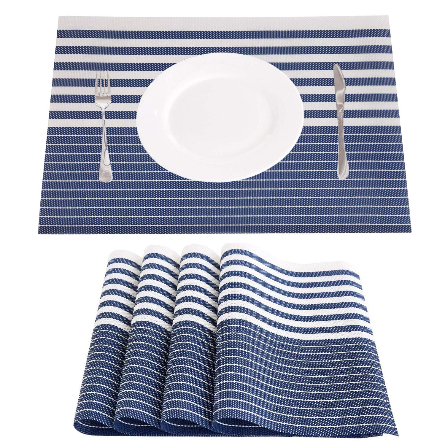 NJCharms Placemats Set of 4, Heat Resistant Washable Nautical Blue Placemats for Kitchen Dining Table Environmental PVC Wipeable Crossweave Vinyl Woven Placemats Table Mats Easy to Clean, Navy Blue
