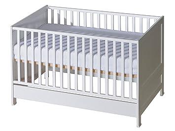 Belivin 2in1 Babybett Gitterbett 140x70cm Weiss Umbaubar Zum