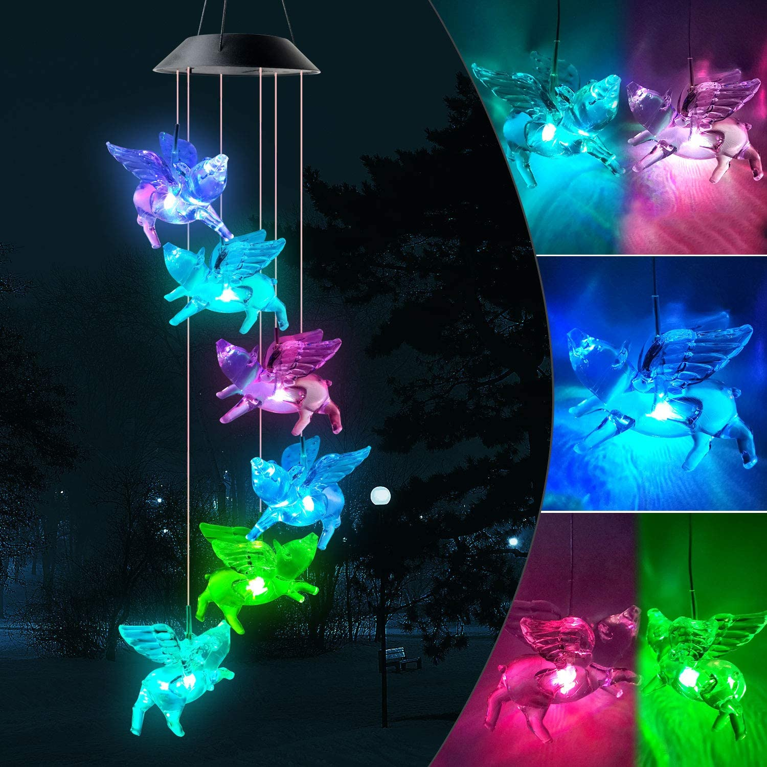 JOBOSI Pig Wind Chimes Gifts for Kids Garden Decor Garden Gifts Solar Wind Chimes Solar Lights Outdoor Decorative Color-Changing LED Light Solar Powered Mobile Hanging Chimes